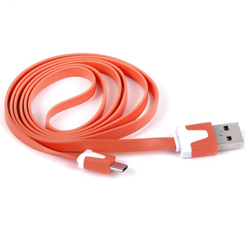 Clarkson® Hochwertiges USB Datenkabel flach für HTC Desire C in orange