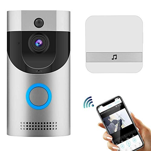 Video Doorbell UOON WiFi Doorbell Camera Low Power 720P HD Video, Two-Way Talk, PIR Motion Detection & Video Night Vision Support Android and iOS Silver