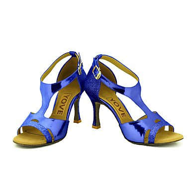 Scarpe da ballo-Personalizzabile-Da donna-Balli latino-americani / Salsa-Tacco su misura-Brillantini-Nero / Blu / Rosso / Argento / Dorato Red