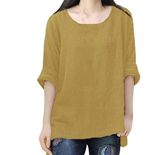 Mymyguoe Damen Sommer Bequem Mantel Lässig Frauen mit Langen Ärmeln Vintage Tops T-Shirt Damen Hemd Blusenshirt Frauen Lose Lässige Button O-Ausschnitt Shirt Bluse Tunika Tops[Gelb,XXXL] -