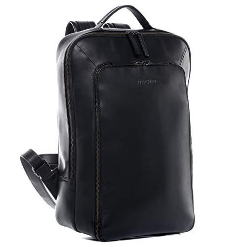 FEYNSINN Laptoprucksack echt Leder Dylan groß Kurierrucksack 15 Zoll Laptop Backpack Tagesrucksack schwarz