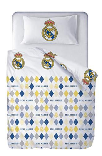 Real Madrid Juego de Cama Reversible 2 Piezas. Funda Nórdica 150x220 cm + Funda de Almohada 45x110...
