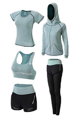 famesale Frauen Activewear Set , Laufen Gym Fitness Outfit Workout Yoga 5-teiliges Set