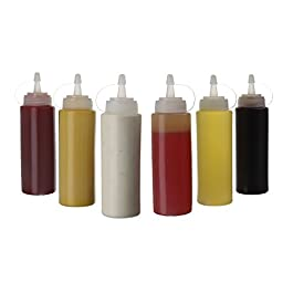 (6 pezzi) Bottiglie da spremere in plastica da 415 ml con vite sul cappuccio – Migliori dispenser per ketchup, senape…
