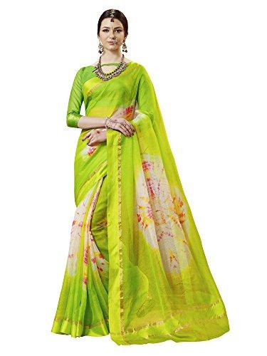 Saree Mall Women's Kota Silk Saree With Blouse Piece (Latest Design Tbnd15003_Green)
