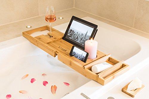 Premium Badewannenablage mit Buchstütze und Glashalter von Prime Art Wood | Badewannenbrett aus naturbraunem Bambus zum Ausziehen 74,5-108,5x23cm | inkl. GRATIS Seifenablage - 5