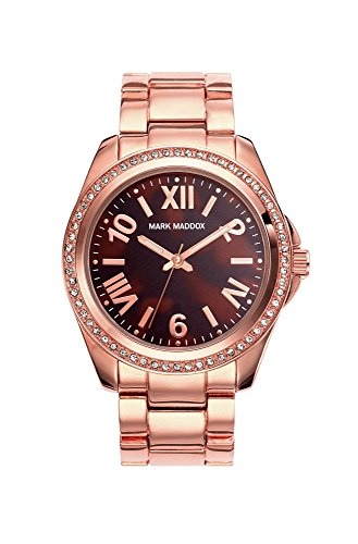 Mark Maddox Women's Quartz Watch with Brown Dial Analogue Display and Rose Gold Bracelet MM3017-43 (Certified Refurbished)