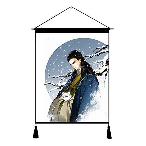NANIH Home des männlichen Kostüms der chinesischen Art des Alten Kostüms schöner männlicher Schwertkämpferstudiums-Wohnzimmerschlafzimmerbaumwollleinen-Kunst, die dekorative Malerei Malt (Size : E)