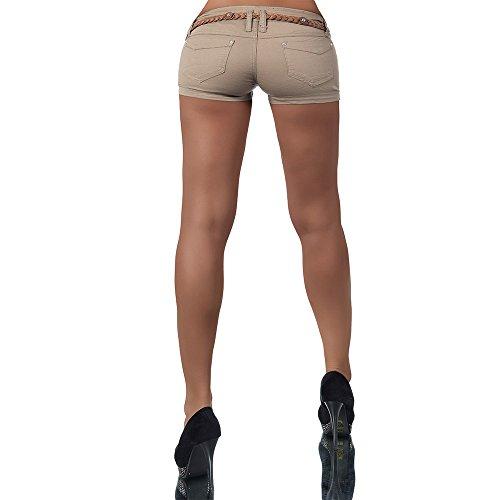H911 Damen Jeans kurze Hose Damenjeans Hüftjeans Hot Pants Shorts Panty Beige