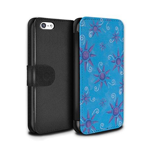 Stuff4 Coque/Etui/Housse Cuir PU Case/Cover pour Apple iPhone 5C / Noir/Blanc Design / Motif Soleil Collection Bleu/Violet