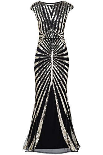 ArtiDeco 1920s Kleid Damen Maxi Lang Vintage Abendkleid Gatsby Motto Party 20er Jahre Flapper Kleid...