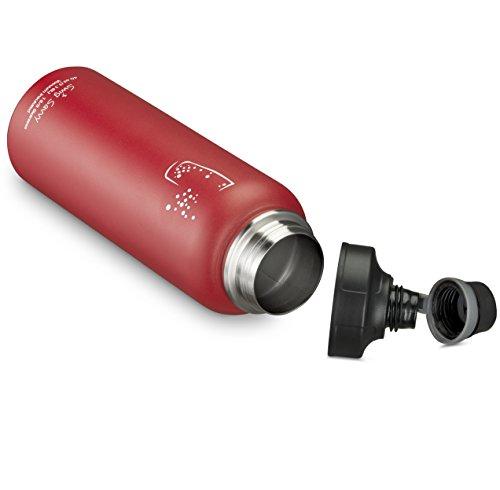 SWIG SAVVY Bpa-Frei Lecksicher Edelstahl Breiter Mund Isolierte Wasserflasche Mit austauschbaren Verschlußn Rot