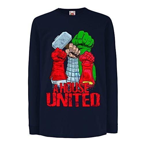 (lepni.me Kinder-T-Shirt mit Langen Ärmeln EIN Haus vereint! Ich Liebe Meine Familie, passende Outfits (12-13 Years Blau Mehrfarben))