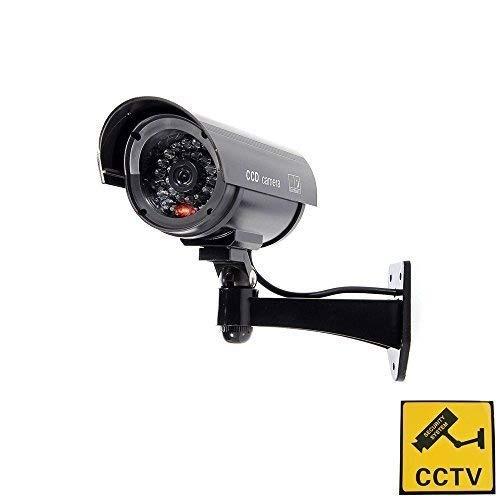 Tech Traders ® Outdoor Indoor Fake Dummy Imitation CCTV Security Camera W/Blinking Flashing Light Bullet Shape black