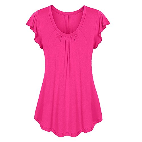 MIRRAY Damen Row Pleats Rüschen Geraffte O-Neck Kurzarm Asymmetrische T-Shirt Oberteile (Pink,XL)