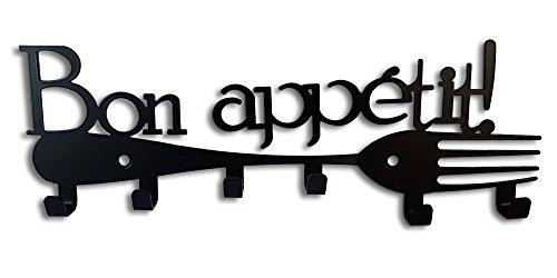 Galleksa portachiavi da parete appendiabiti chiave ganci portachiavi bon appetit nero