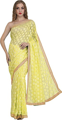 Exotic India Saree from Punjab with Phulkari Embroidery in Self and Golden...
