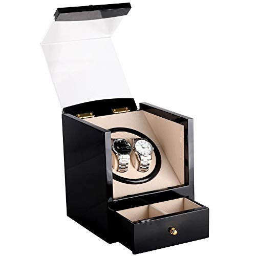 DKZK Scatola Carica Orologio Watch Winder 2 Watch Winder Battery per Orologi Automatici Wood (Senza Orologio) Storage Case Automatic Watch Box con Silenzioso Motor Box in Legno
