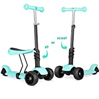 Bamny 3-in-1 Kids Kick Scooter, Adjustable 3 Wheels Kick Scooter with Removable & Adjustable Seat, LED Light up Wheels for Boys Girls Age 2-6 (Topa Green)