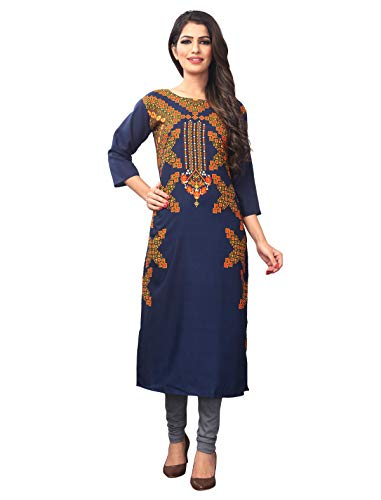 1 Stop Fashion Women's Blue Crepe Knee Long Straight Kurti