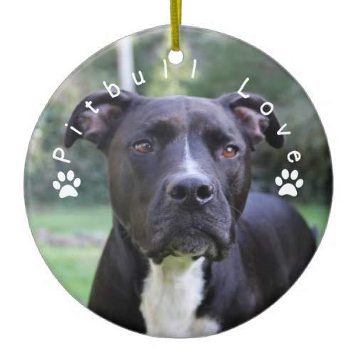 Tiukiu Pitbull Love Custom Picture Ceramic Ornament Keepsake Gift Idea