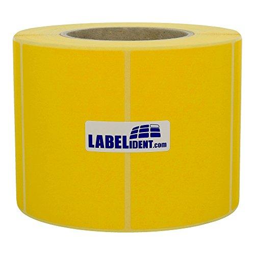 Labelident permanent haftende Thermo Etiketten - 100 x 150 mm - unbeschichtetes Papier, gelb matt, Trägerperforation, 1000 Thermodirekt-Etiketten auf Rolle mit 76 mm (3 Zoll) Kern