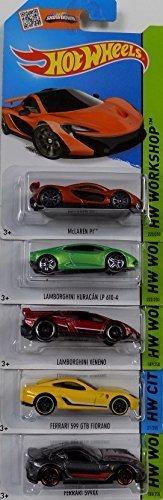 [Bundle 5 Items] HotWheels Exotics Dream Team Set - McLaren P1, Lamborghini LP 610-4, Lamborghini Veneno, Ferrari 599 GTB Fiorano, Ferrari 599XX by Mattel Dream-team-bundle