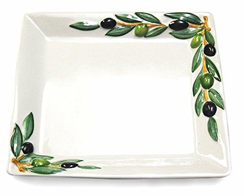 Lashuma Handgemachte Servierplatte aus Italienischer Keramik, Fleisch Platte im Oliven Design, Servierteller eckig 27 x 27 cm