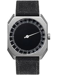 Slow Jo 14 - Reloj suizo unisex de 24 horas plateado, con correa de tela antracita
