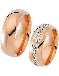 Paarpreis Trauringe 585 rotgold Gratis Gravur Zirkonia Steine Eheringe Modell Roberto Massini® Infinito03R