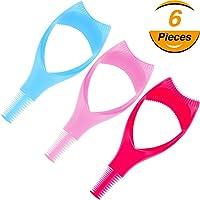 6 Piezas de Herramientas de Pestañas 3 en 1 Aplicador de Escudo de Máscara Guía de Pestañas para Maquillaje, 4 Colores
