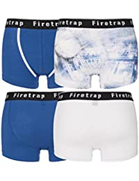 Mens 2 Pack Firetrap Plain and Photographic Print Cotton Boxer Shorts