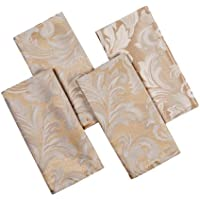 Signature Collection Cadiz Damask Effect Champagne (Creamy-Gold) Pack Of 4 Table Napkins 17in x 17in (43cm x 43cm). All Sizes Approximate