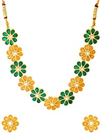 Valentine Gifts: Voylla Gorgeous Gold Plated Floral Necklace Set From Deewan For Women, Girlfriend, Wife & Her