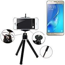 Smartphone trípode / soporte móvil / trípode como para Samsung Galaxy J5 (2016). Trípode de aluminio / trípode con soporte para el teléfono móvil, universal para todos los teléfonos inteligentes y las cámaras comunes. De color negro. Aferrarse trípode adaptador