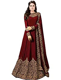 875ed008af Varudi Fashion Women s Georgette Heavy Embroidered Semi Stitched Anarkali  Gown (AP1 Blue Freesize)