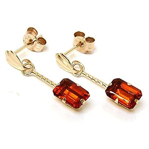 In oro 9 kt, taglio a smeraldo, Madeira-Orecchini pendenti con quarzo citrino
