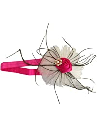 NeedyBee Headband for Newborn/Infants/Baby Girls with Feather (Kids Hair Accessories) (White & Pink)