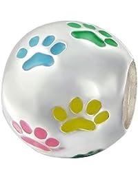 So Chic Joyas - Abalorio Charm Patas perro bola multicolor Huella - Compatible con Pandora, Trollbeads, Chamilia, Biagi - Plata 925