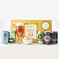 Beer Hawk Beery Gift Hamper Selection Box – Craft Beer Gift Set with Glass & Snacks