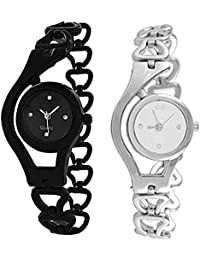 Exotica Watch With Chain Belt | Attractive Black & Silver Colored Belt & Dial | Beautiful Look | Casual | Party-Wedding...