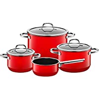 Silit Topf-Set 4-teilig Fleischtopf Stielkasserolle Passion Red Schüttrand  induktionsgeeignet spülmaschinengeeignet