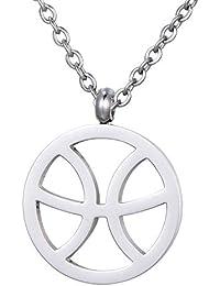 a167337dd567 Morella Collar Acero Inoxidable Plata con Colgante Signo del Zodiaco en  Bolsa de Terciopelo