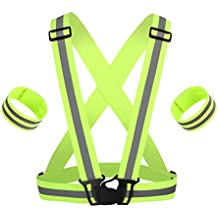 TOMALL Chaleco reflectante Chaleco Correa verde banda elástica ajustable para deportes al aire libre