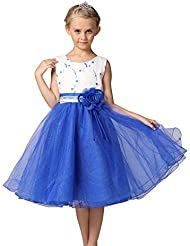 ZAMME Vestido para niñas flor pajarita en capas de organza