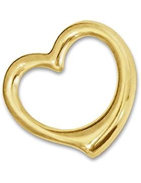 CLEVER SCHMUCK Goldener Anhänger frei schwingendes kleines Mini Herz 12 mm glänzend innen offen, beidseitig plastische...