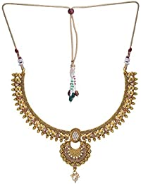 Jewel Hevean Golden Pendant Necklace Set For Women - B0783GFBC3
