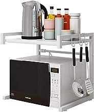 Microwave Shelf HamerTools Microwave Oven Rack, Carbon Steel, Kitchen Counter Shelf, 2 Tiers with 3 Hooks, 55