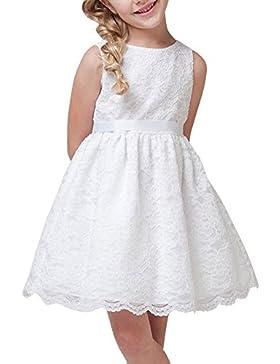 Vestito Ragazze Girocollo Pizzo Floreale Bambina Smanicato Principessa Vestito Da Cerimonia Di Sera Bianco 150CM