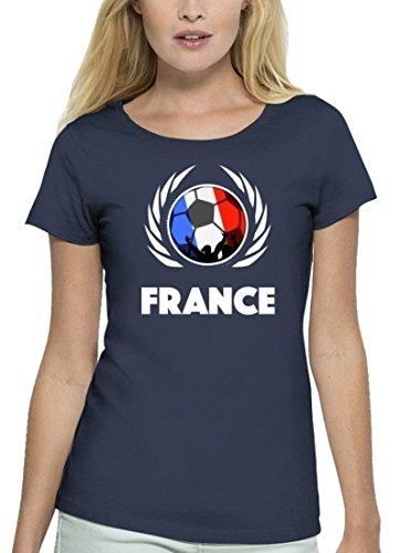 ShirtStreet France Fussball WM Premium Fanfest Damen T-Shirt Bio Baumwolle Stanley Stella Fußball Frankreich Navy